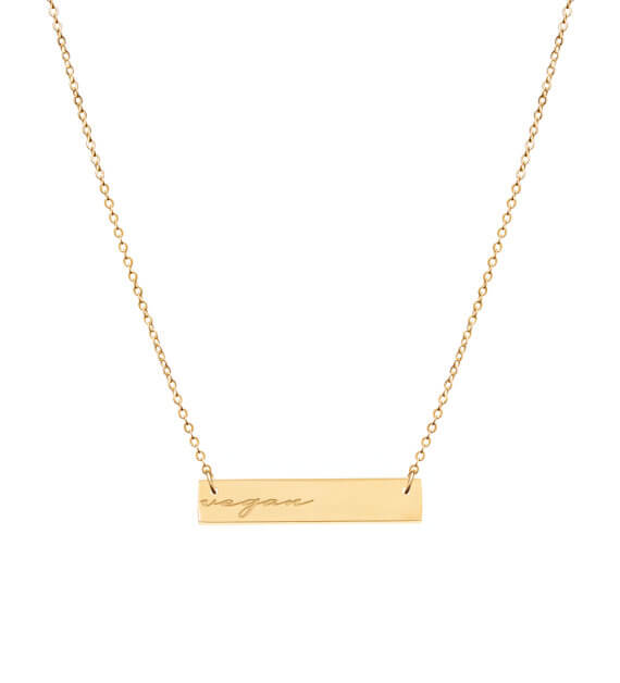 Reversible Vegan Gold bar necklace
