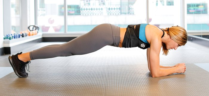 Plank push-up starting position.