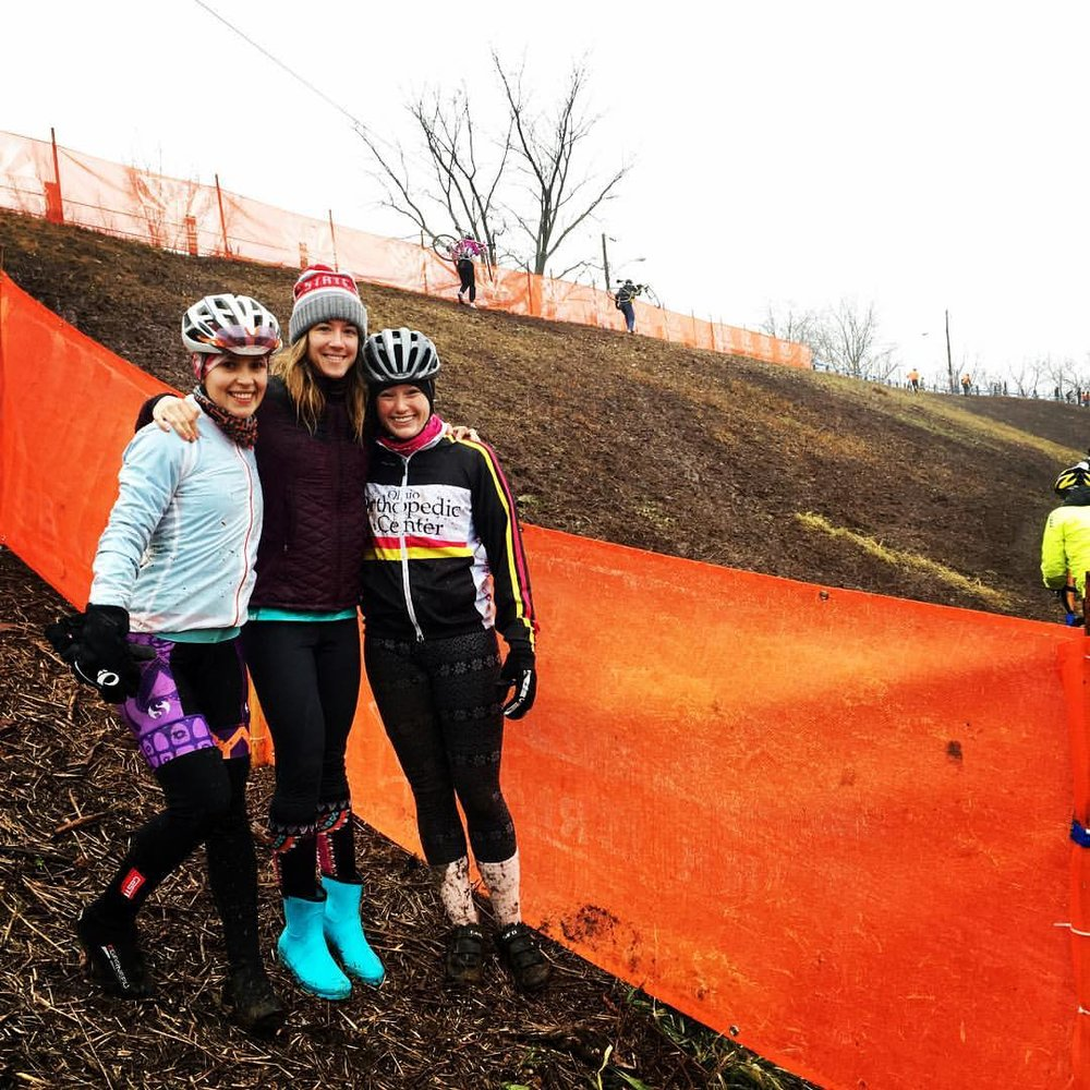 2017 CX Nationals in Hartford, CT was my 3rd CX Nationals for collegiate and (left to right - both race for Ohio State University) Lady Gnar Shredders - Emily Dryer and Team SixOneFour Mary-Kate Wintz first CX Nationals.
