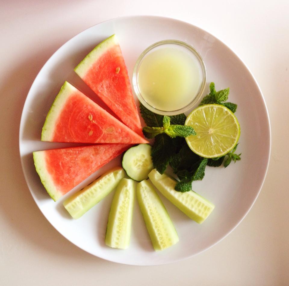 watermelon cucumber plate