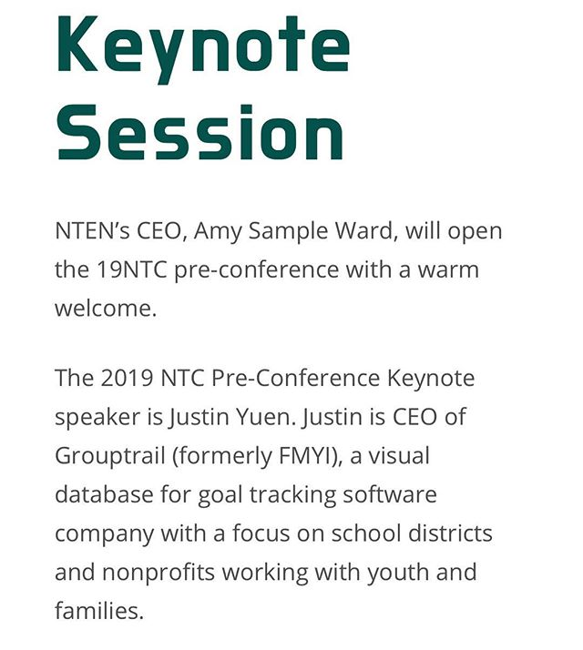 Our CEO Justin Yuen is delivering the pre-conference keynote at @ntenorg's #19NTC, an annual gathering of 2,000+ nonprofit technology leaders from around the country. Link to more info in our profile!