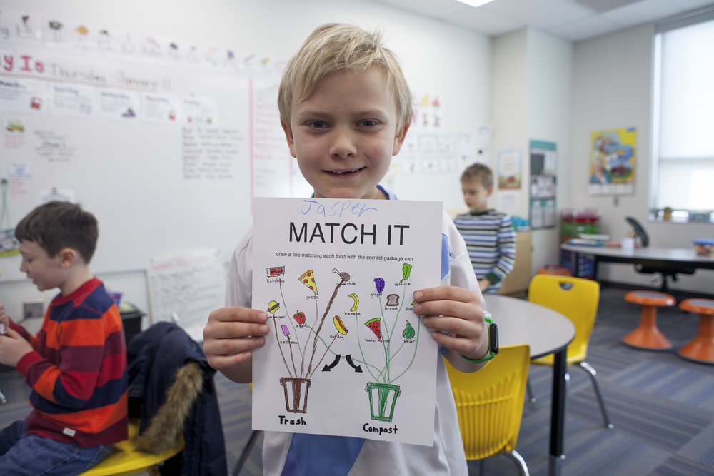 It all begins with education! Pictured here, one Cordley second grader shows off some fancy coloring and smart sorting with this composting worksheet