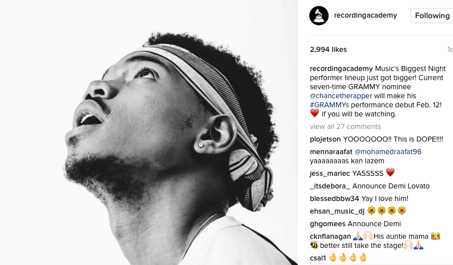 Chance the Rapper - Image courtesy of the Recording Academy on Instagram