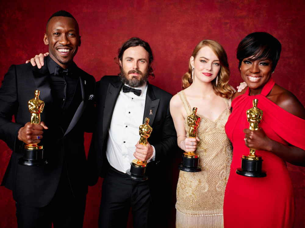 Mahershala Ali, Casey Affleck, Emma Stone and Viola Davis backstage during the live ABC Telecast of The 89th Oscars® at the Dolby® Theatre in Hollywood, CA on Sunday, February 26, 2016.                                                                                                                                                                                                                                                 credit:  Jeff Lipsky / ©A.M.P.A.S.
