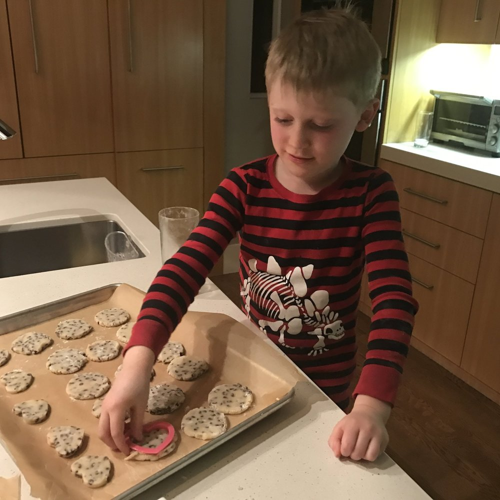 Dana's son, Micah making cookies for the Home Office