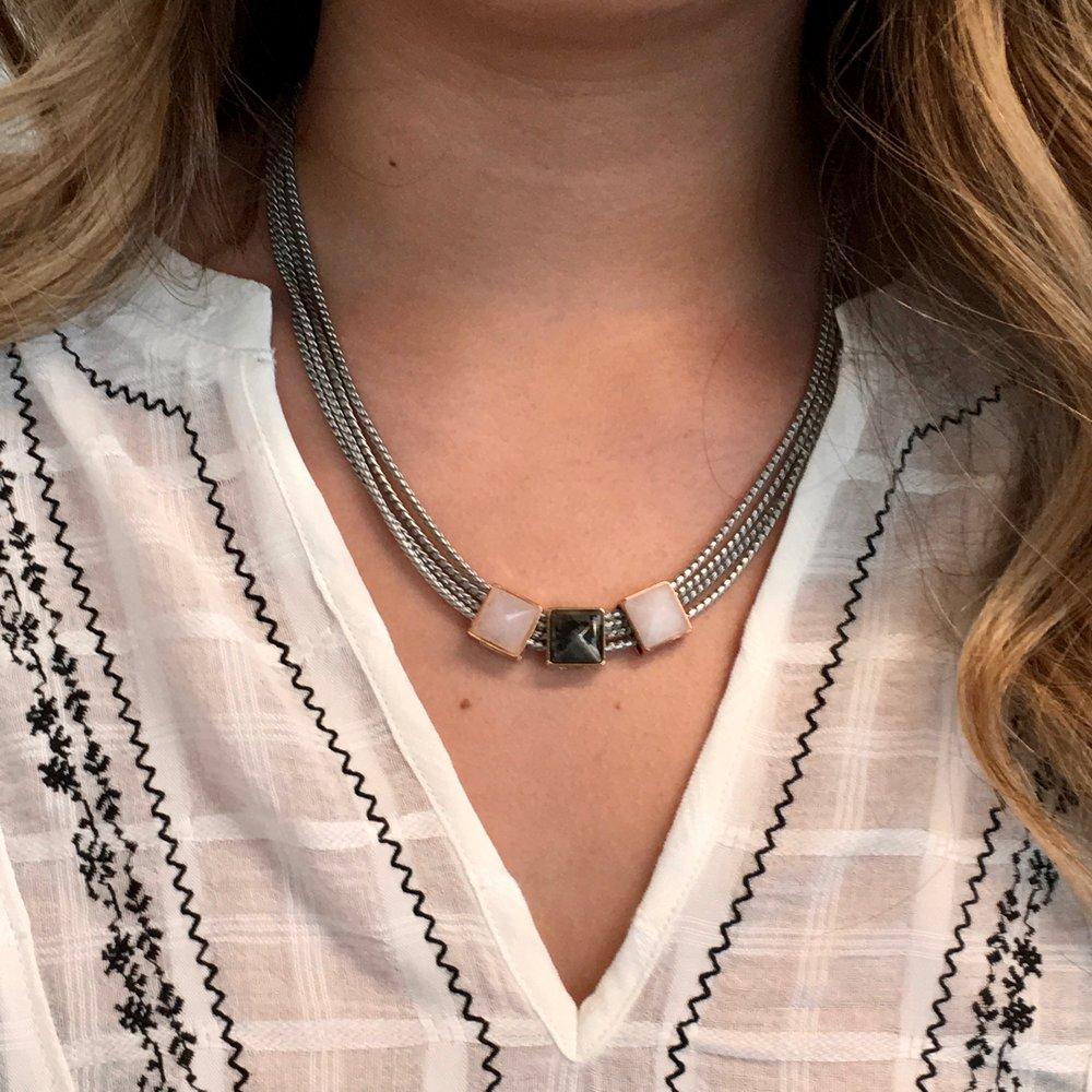 Mesh Necklace + Pyramid Stones
