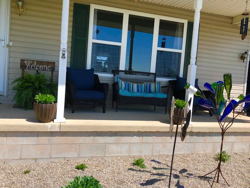 """The stones, flowers, cushions, and furniture for my summer KEEP """"office.""""  -Nichole B."""