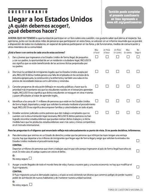 POST-FORUM QUESTIONNAIRE (SPANISH)