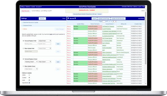 CleanUpdate screenshot in CRM system