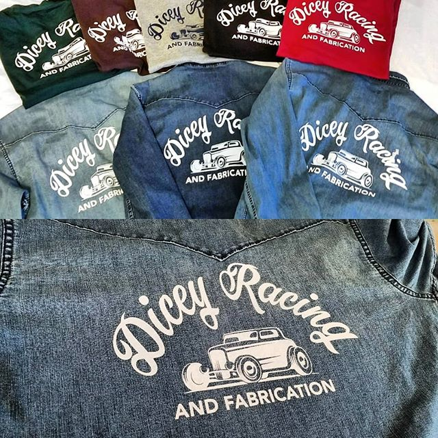Custom shop line for Dicey Racing & Fabrication crew. Looking forward to seeing these guys crush out some dicey projects! 👕🎨 . . . . . #vinylshirts #customshirt #appareldesign #staydicey #diceyracingandfabrication #cyantics