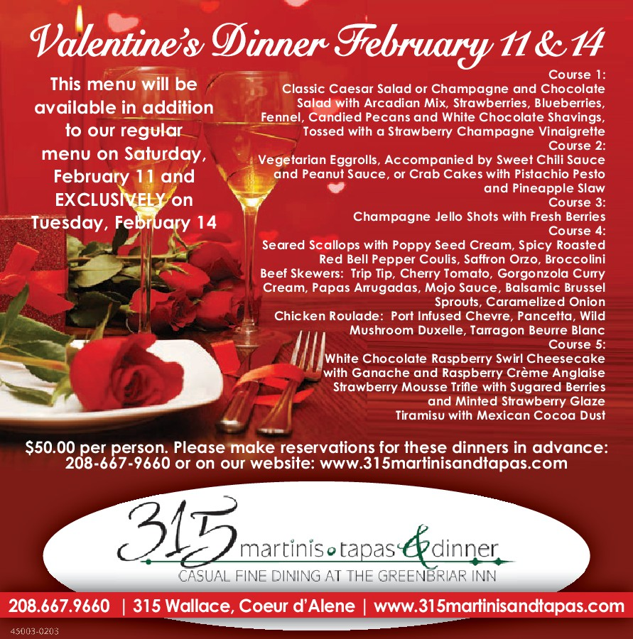 Valentine S Day Dinner 315 Martinis Tapas