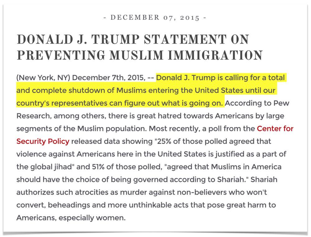 It's still on Trump's website.
