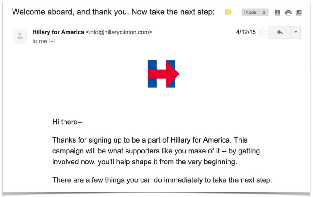 My first email from the campaign after a $25 donation the day it launched.