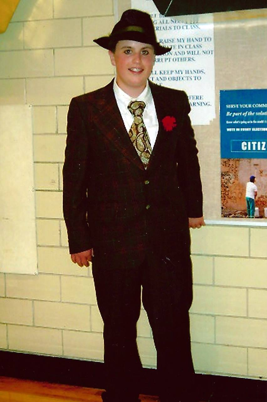 """Me dressed as """"Gangster #7"""" in an 8th grade performance of Guys & Dolls."""