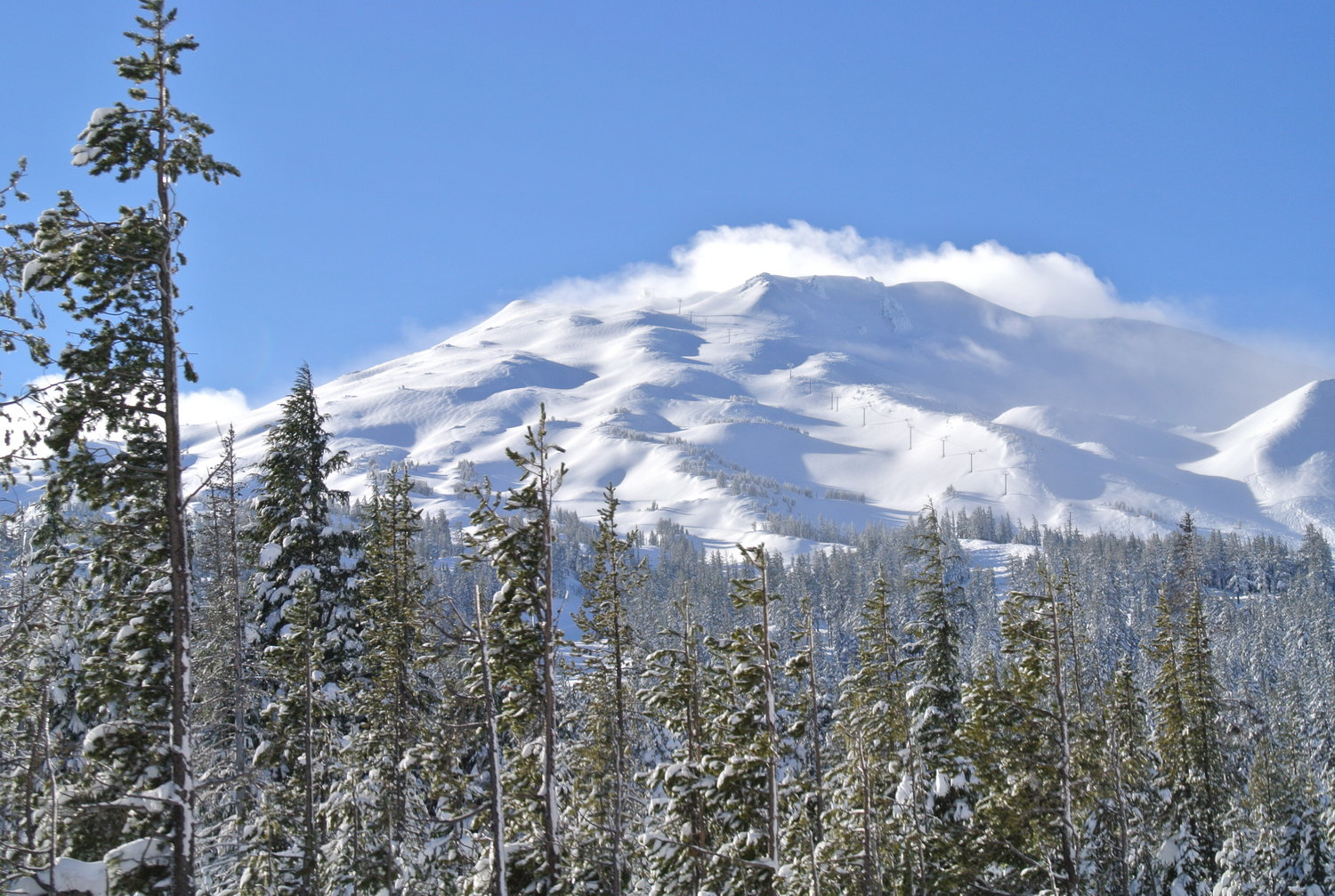 A snowy Mt. Bachelor. Remember the snow also falls in Bend