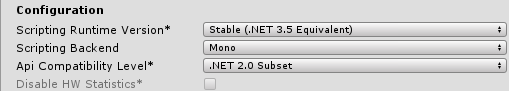 The fairly confusing .NET Framework/Runtime configuration panel in Unity.