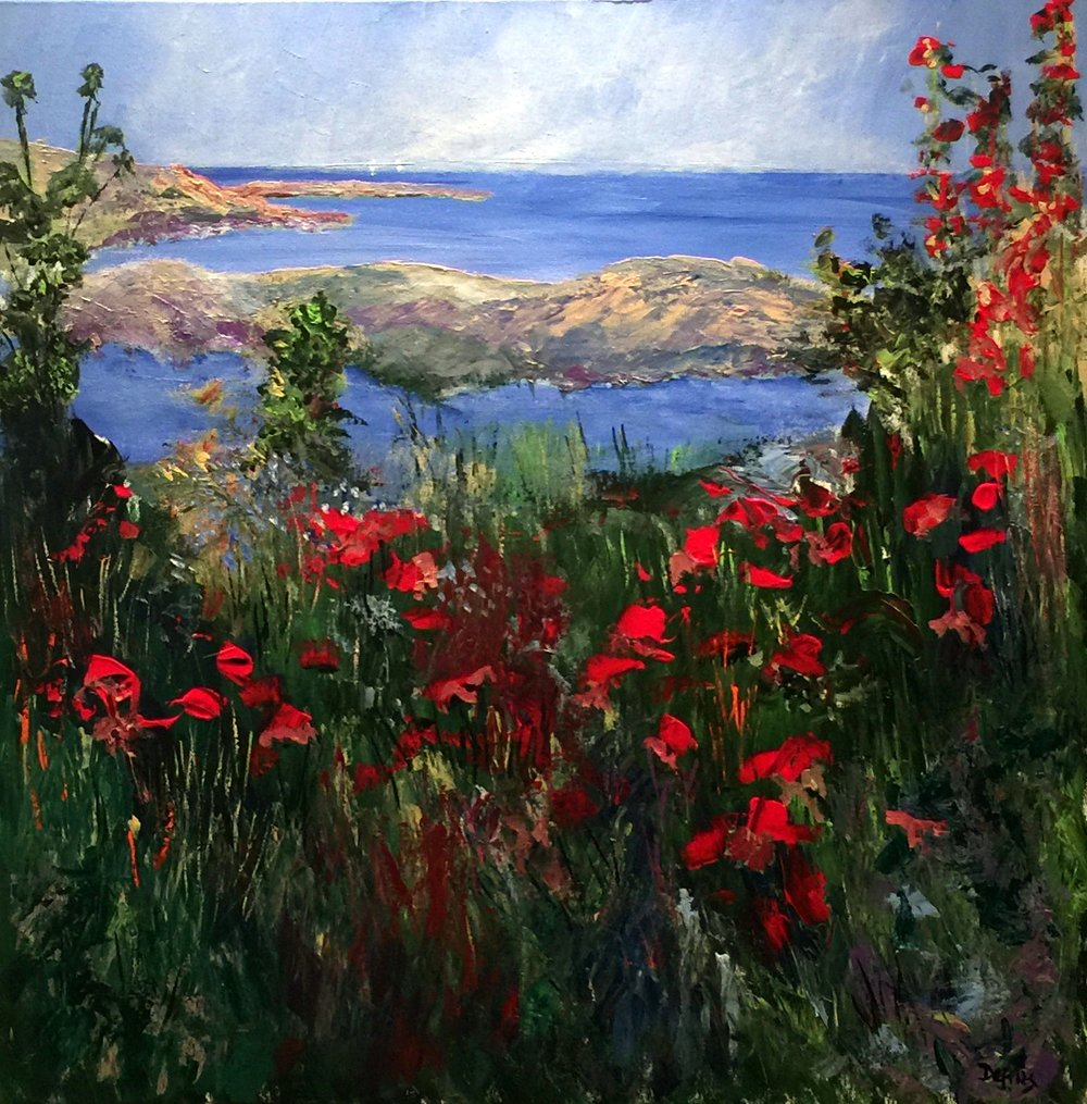 Poppies, Camden Maine , Acrylic on canvas, 60 x 60 cm