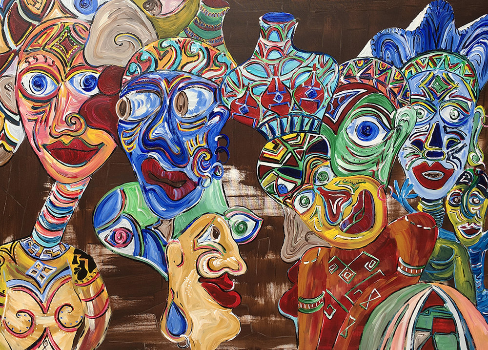 People Watching Africa,  Acrylic on canvas, 91 x 152cm