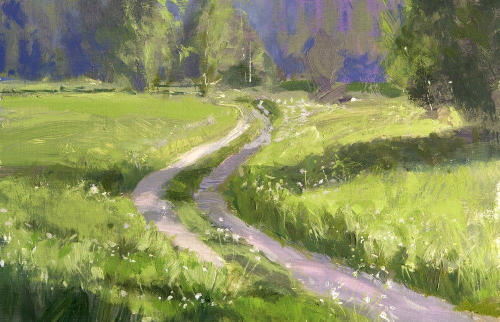 Dog Walking I, 30 x 40 cm, Oil on Canvas, £400
