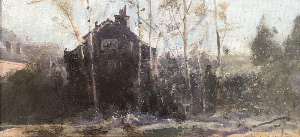 Train Houses, 15 x 30 cm, Oil on Canvas, £600