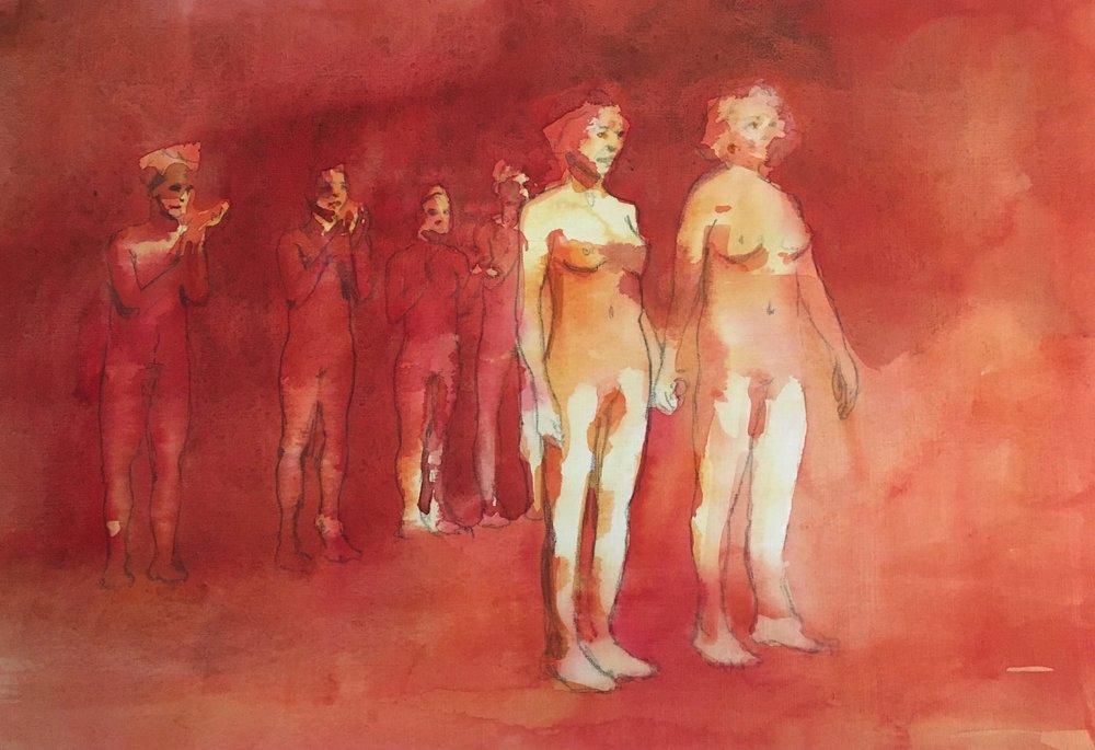 Best Body in the World Winners, 30 x 15 cm, Watercolour, £300