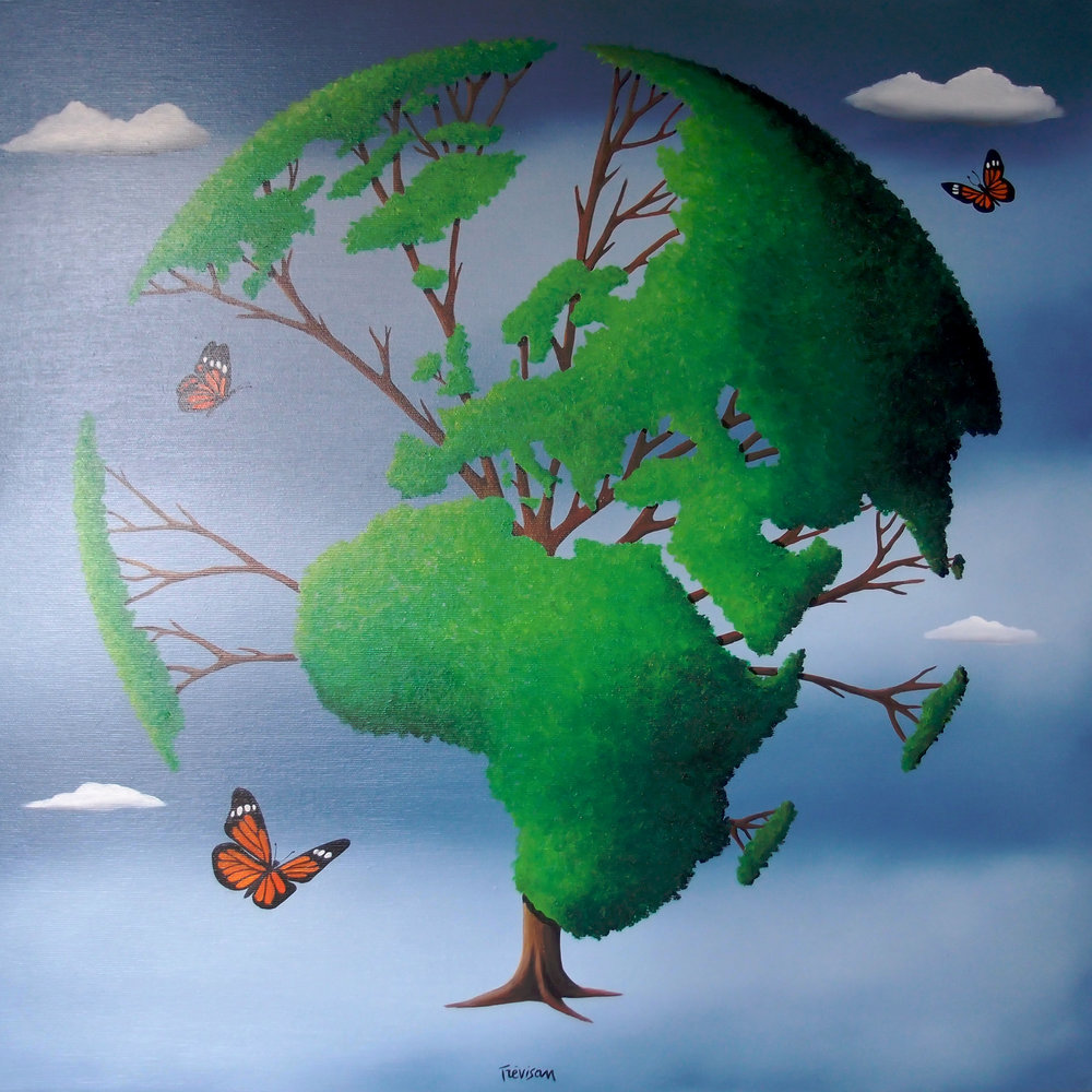 'Earth Tree', Oil on canvas, 60 x 60 cm, £900