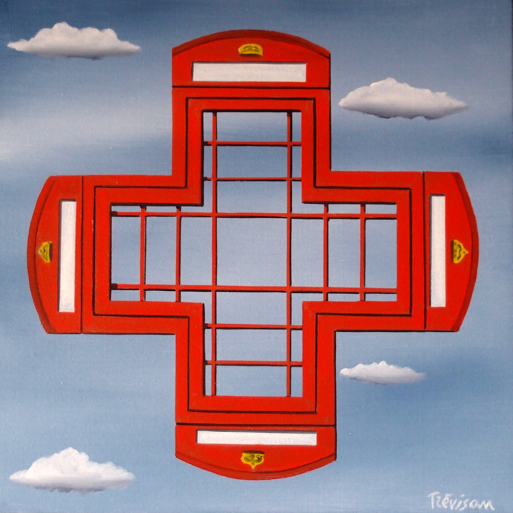 'Red Cross Telephone', Oil on canvas, 24 x 24 cm, £350