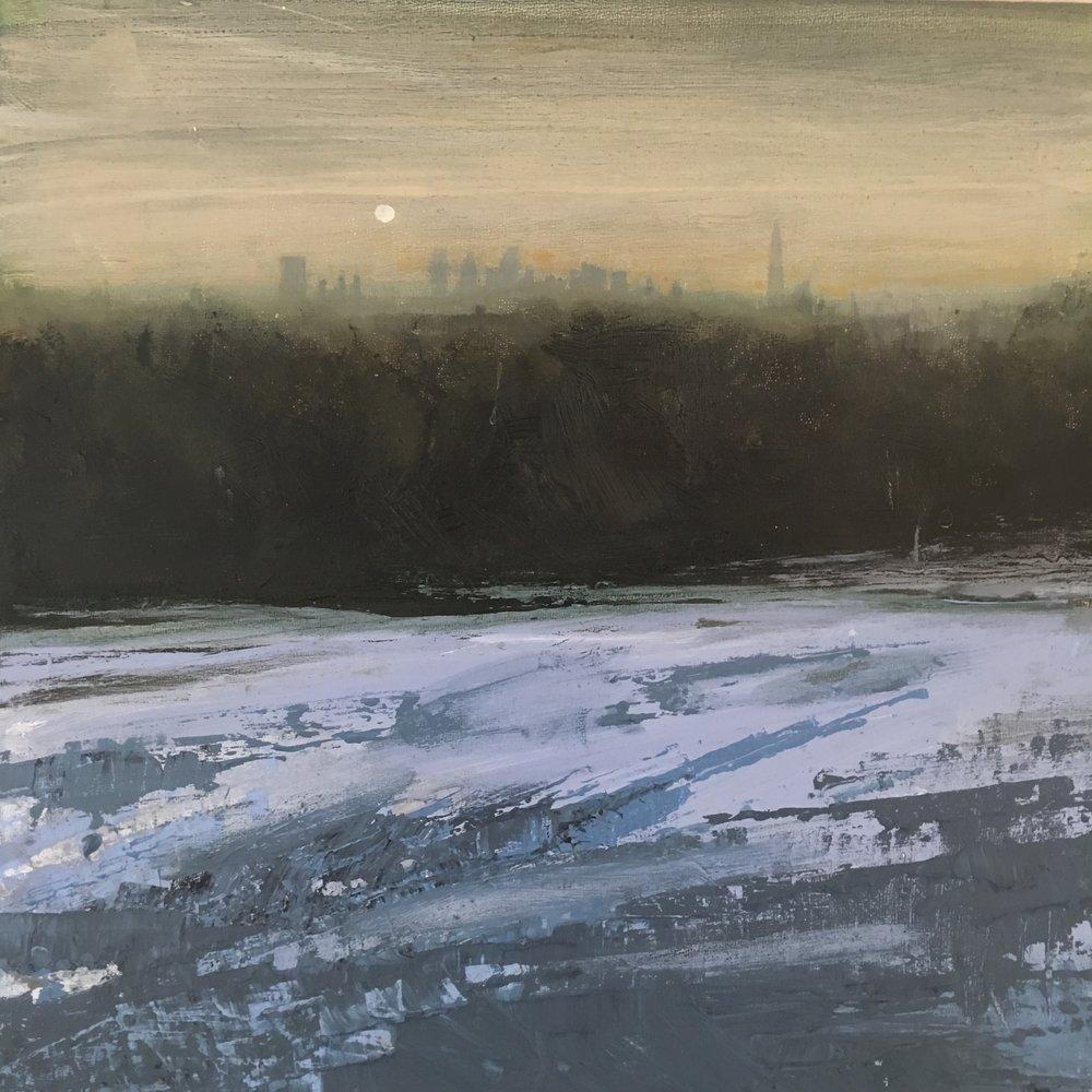 Moonlit Heath, Acrylic on canvas, 30 x 30 cm, £350