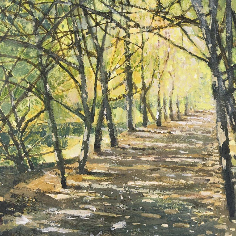 Autumn at Kenwood, Acrylic on canvas, 25 x 25cm, £300