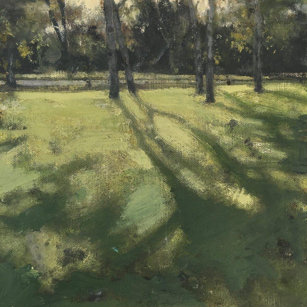 Dusk at Golders Green, Acrylic on canvas, 20 x 20 cm, £200