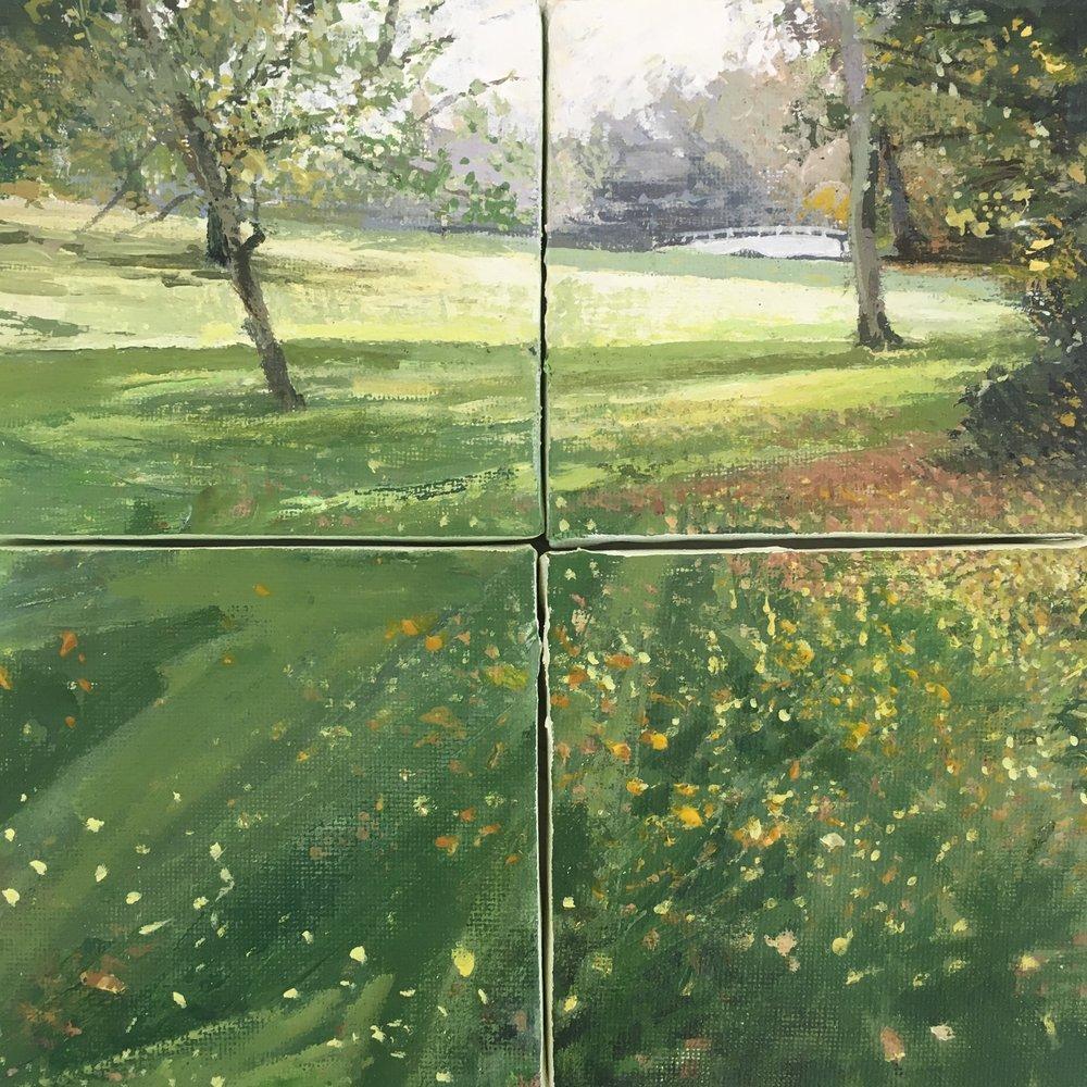 Morning Sunlight, Acrylic on canvas, 20 x 20 cm, £250 – £75 each