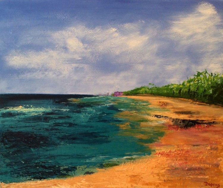 Coral Reef Beach, Barbados, Acrylic on Canvas, 50 x 60cm, £850