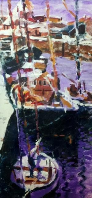 Harbour, Acrylic on Canvas, 75 x 37cm, £950