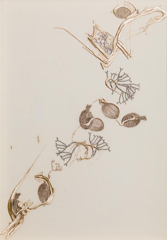 Entangled VI, Triptych II, 100% Silk Crepe de Chine Satin, 47 x 65cm, £995