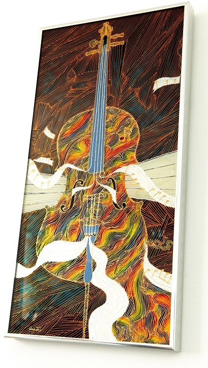 Cello Song , Glass Art with Mirror Backing, 60 x 35cm, £1500