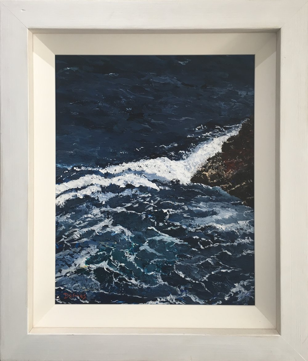 Waves on Rocks, Bendinat, 50 x 40cm, £750