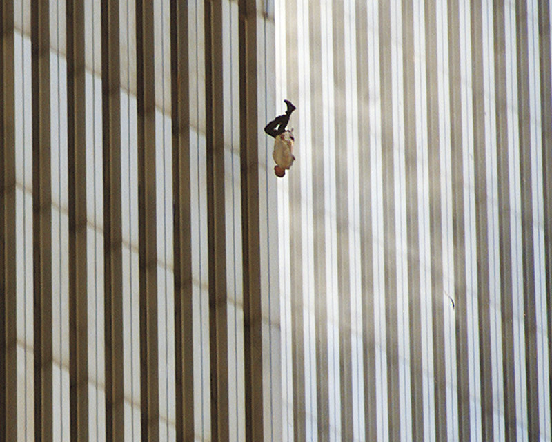 "Falling Man  captured a man who jumped out of the Twin Towers on 9/11, but was labeled as containing a ""Bird"" with 70% confidence or ""Finch"" with 83% confidence, and also included a label for ""Interior Design"" due to the building pattern with 69% confidence."