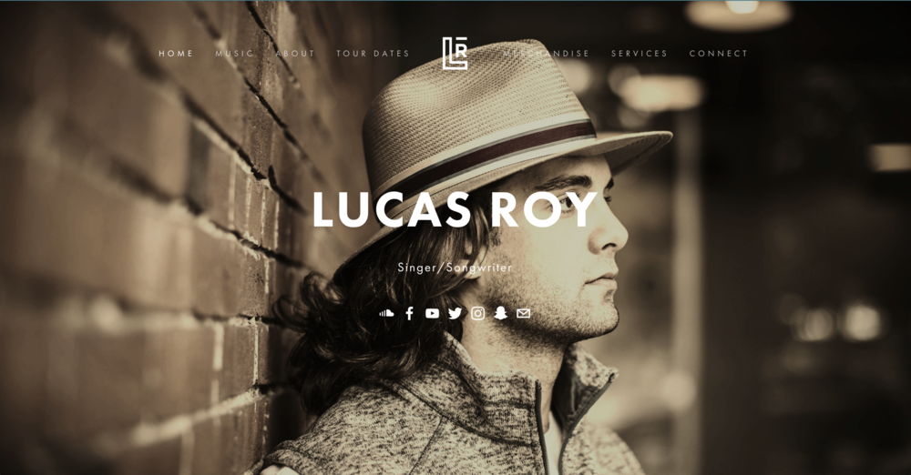 Photo of Lucas Roy's website landing page