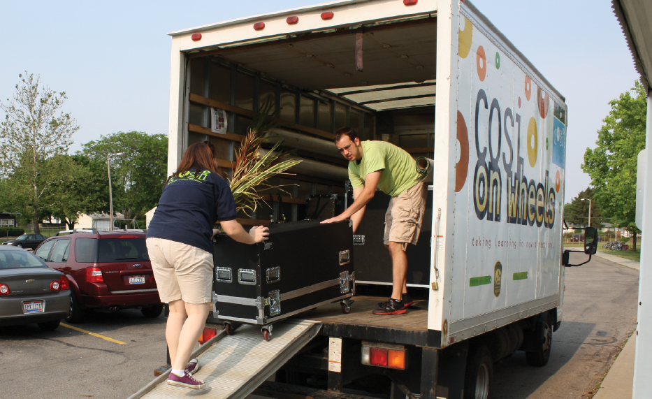 All components of the program travel in a truck with an educator; who sets everything up at each school with the help of parent or teacher volunteers.