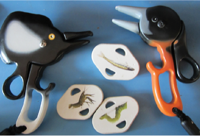Visit Grange Audubon Center in Columbus, OH to observe existing beak activity. Bird scissors grab food blocks by fitting beaks in holes and picking them up. This activity inspired final product.