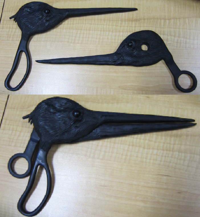 Worked with vendor Laser Reproductions to engineer scissors, create durable and realistic birds. Solid Works models, molds and casts were done. Molds were modified to change sharp beaks or hanging parts that decreased durability and safety. Food boxes and paint for birds were done at COSI.