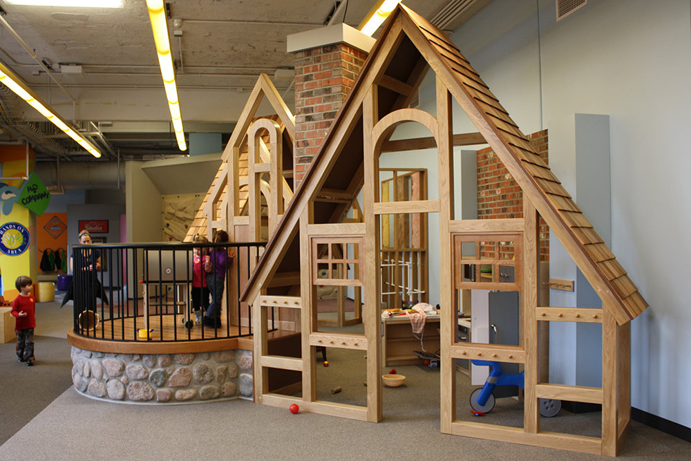 Open house children can play with real stone, bricks, insulation materials, kitchen, exposed plumbing, doorbell and more.
