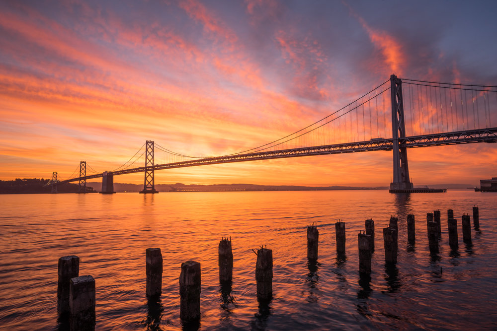 Fiery Sunrise at the Bay Bridge