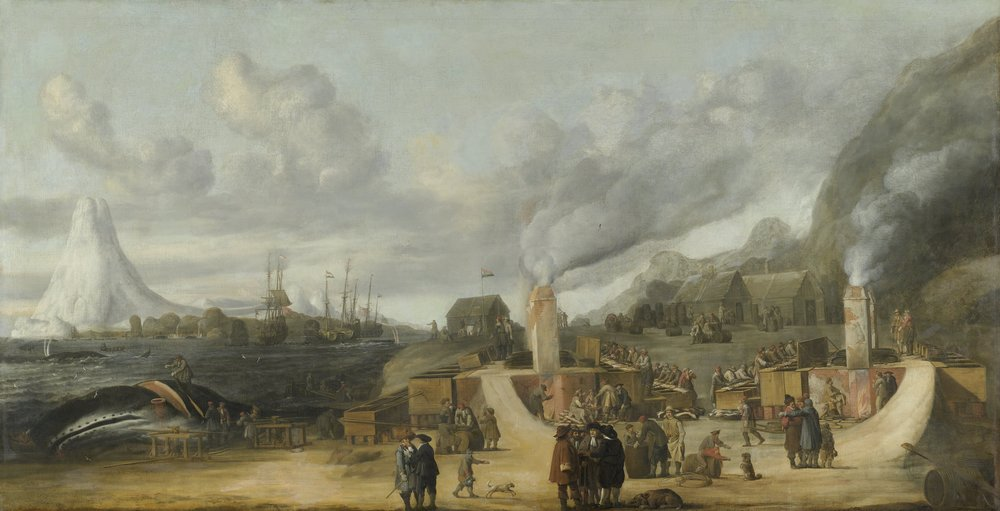 """The train oil cookery of the Amsterdam chamber of the Northern Company at Smeerenburg"". Painting by  Cornelis de Man  (1639)"