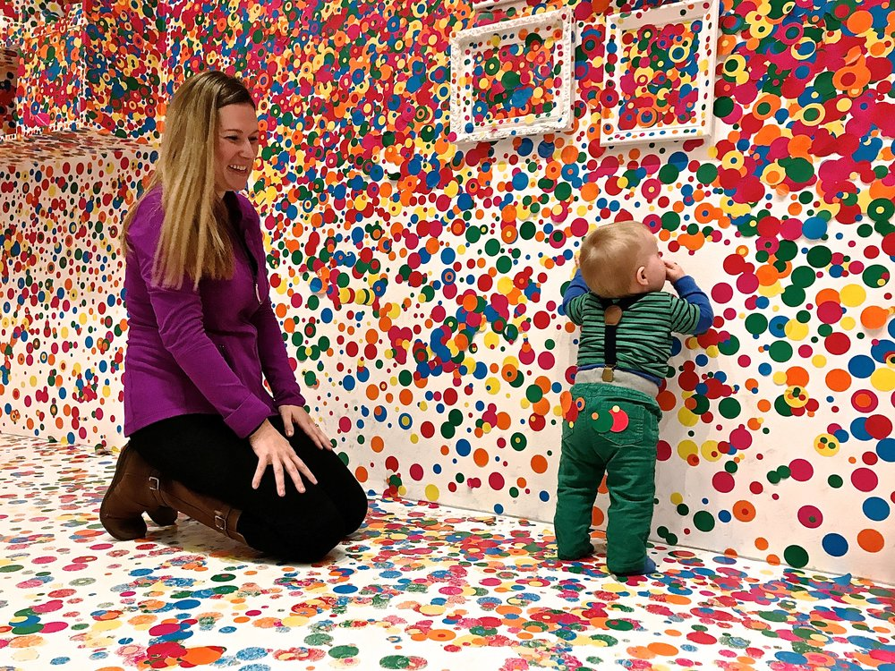Finnley and me at the Yayoi Kusuma exhibit at the   Hirshorn Museum