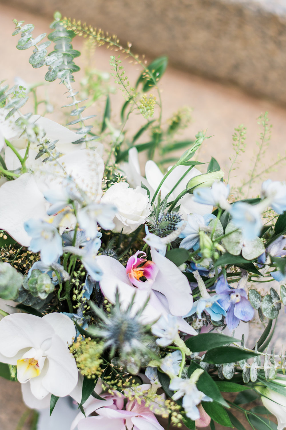 A close-up of the bouquet's colors and textures.