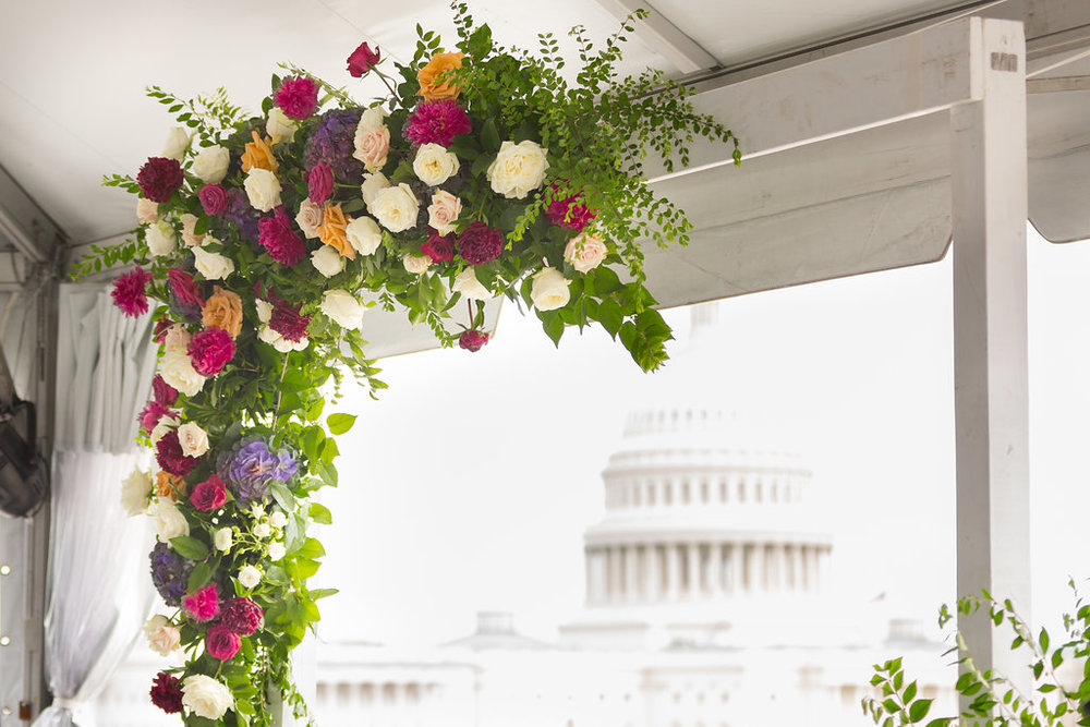 I mentioned the views right? They don't get any better than 101 Constitution - even with that unmistakeable D.C. summer haze. Thanks to   Amy Wu   for capturing my flower arch framing the U.S. Capitol.  The arch was filled with Garden Roses, Peonies, Clematis vine and greenery.