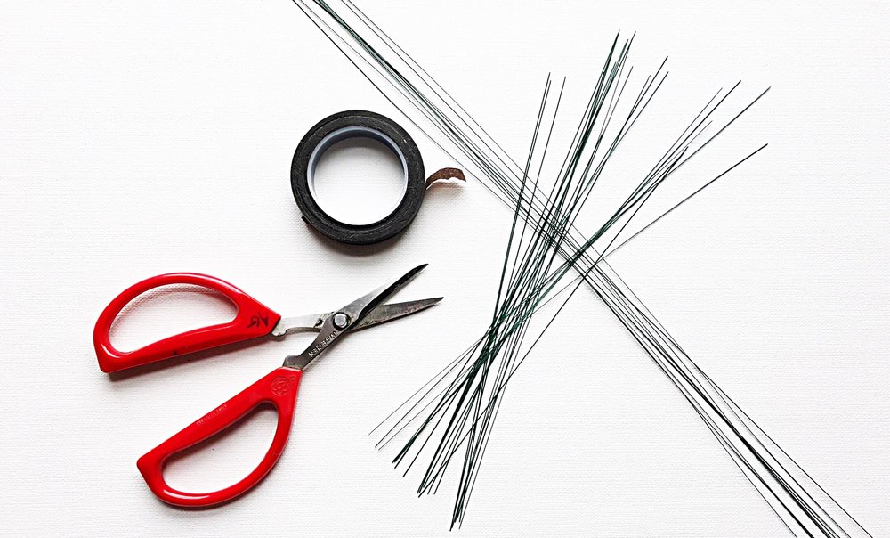 You will need scissors, brown or white florist tape and thin (28 gauge) wire.