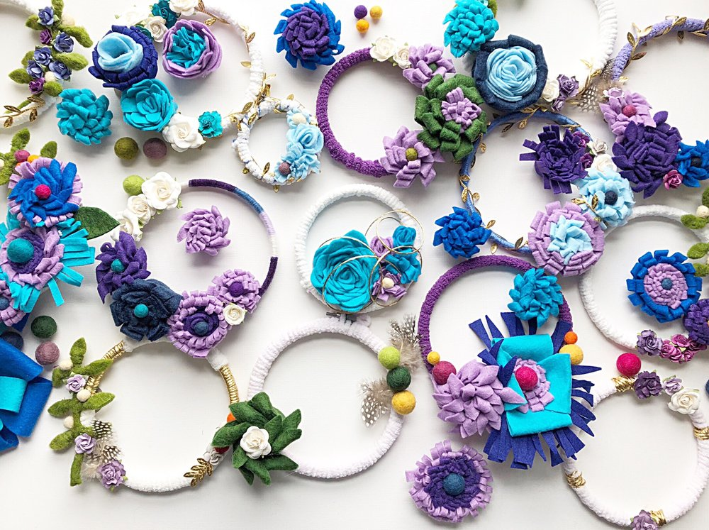 Atelier Ashley Flowers -Light-up-the-seasons-+ Four Seasons Washington DC+ DIY + Craft Project + Felt Flowers + Blue Flowers + Purple Flowers + Community Over Competition + Charity + Children's National Hospital