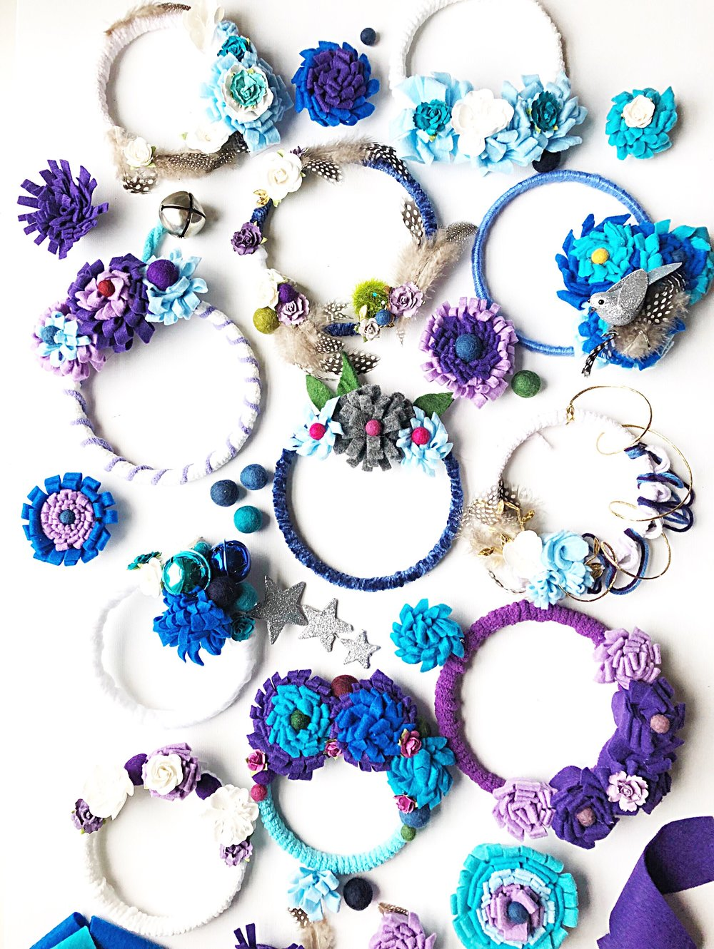 Atelier Ashley Flowers -Light-up-the-seasons-+ Four Seasons Washington DC+ DIY + Craft Project + Felt Flowers + Blue Flowers + Purple Flowers + Community Over Competition + Charity + Children's National Hospital + Craft Party